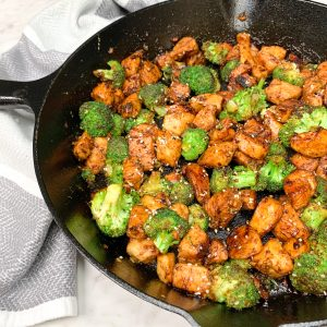 Chicken and broccoli in a cast iron skillet